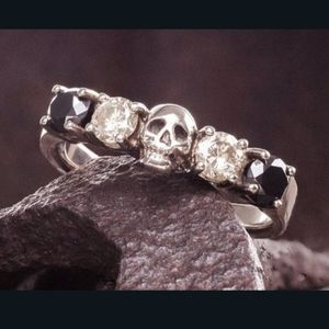 NWT Goth Black Stone Skull Stamped Silver Ring 7!
